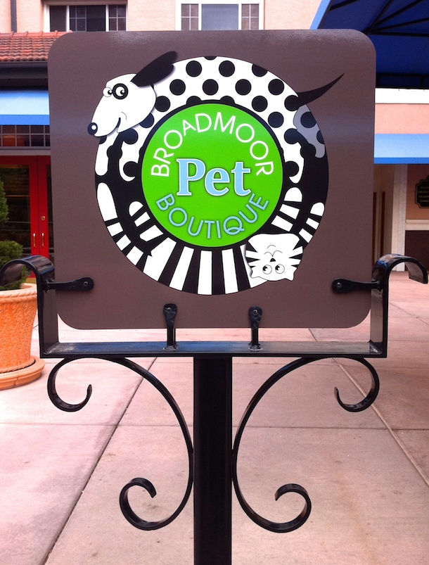 Sign for the Broadmoor Pet Boutique