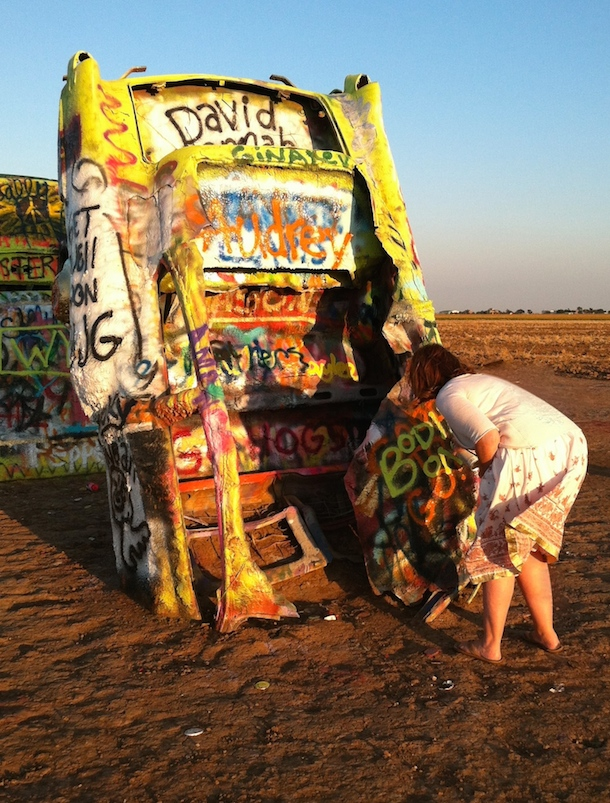 Bodie at the Dog-Friendly Cadillac Ranch