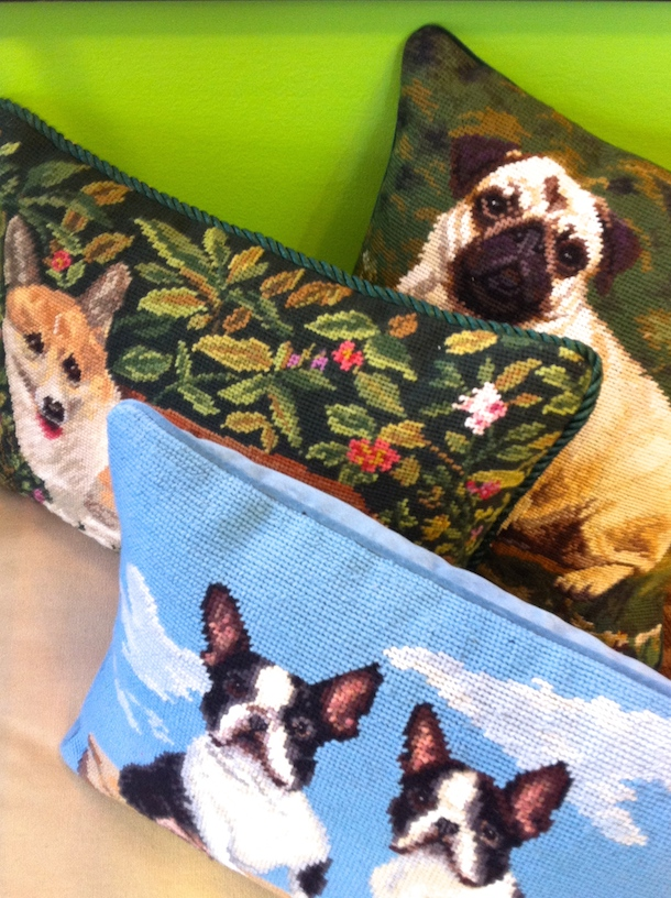 Dog tapestry cushions at Broadmoor Pet Boutique
