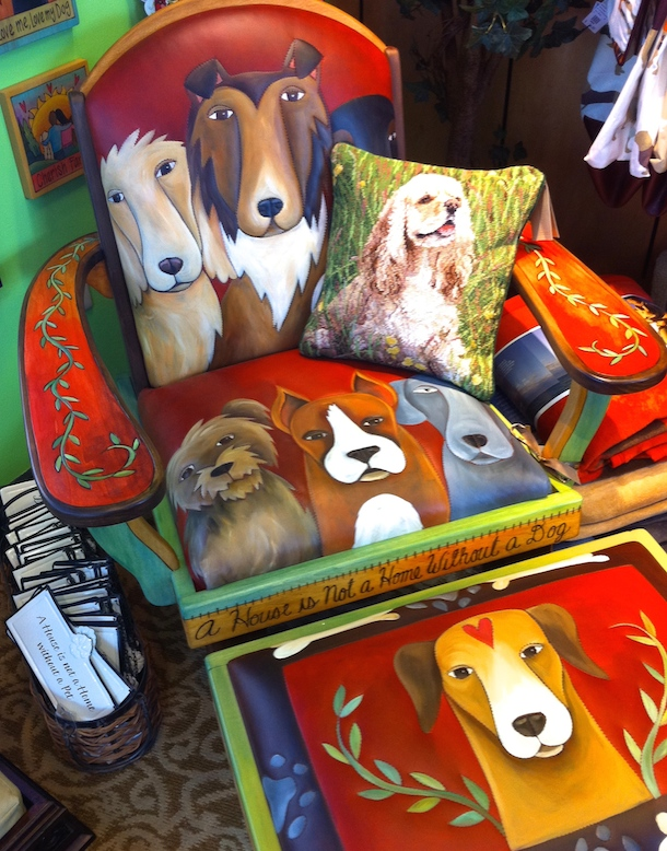 Hand-painted dog chair at Broadmoor hotel Pet Boutique