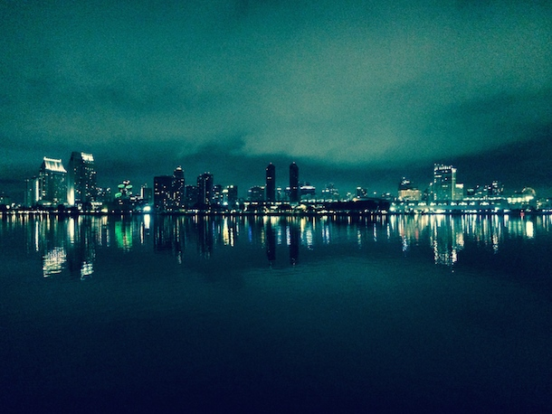 downtown san diego night lights on water green misty hue