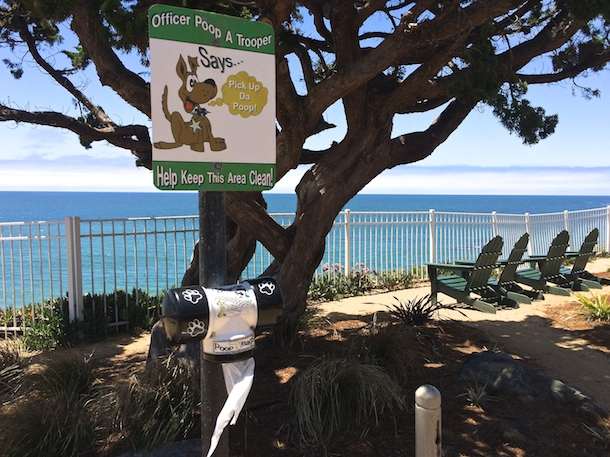 dog poo bag dispenser with sea view cottage inn pismo beach