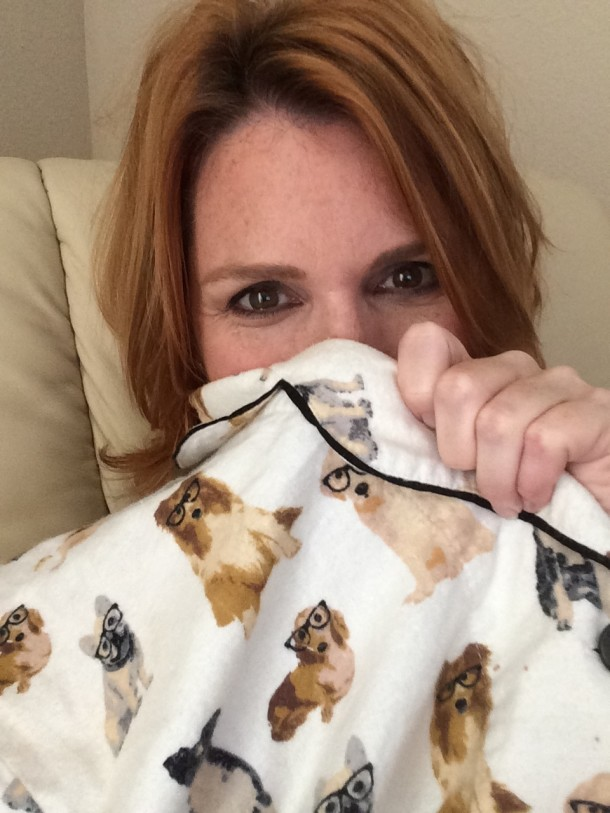 author belinda jones in dog motif pyjamas