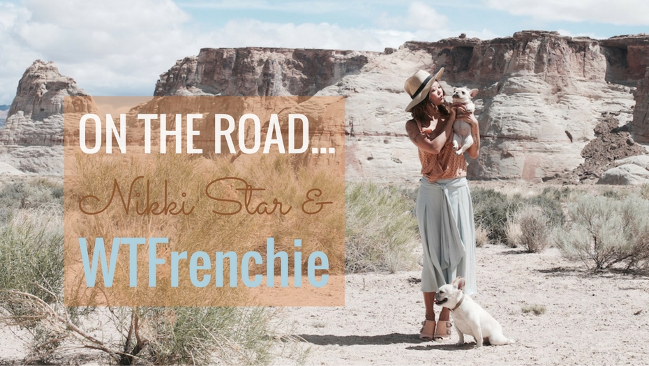 Beautiful woman holding up a French Bulldog with another at her feet against a dramatic rock background in Utah