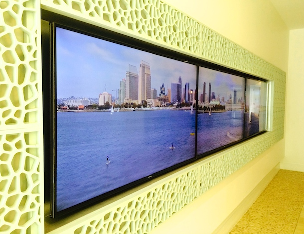 TV screens showing Coronado bay at Broadstone Coronado