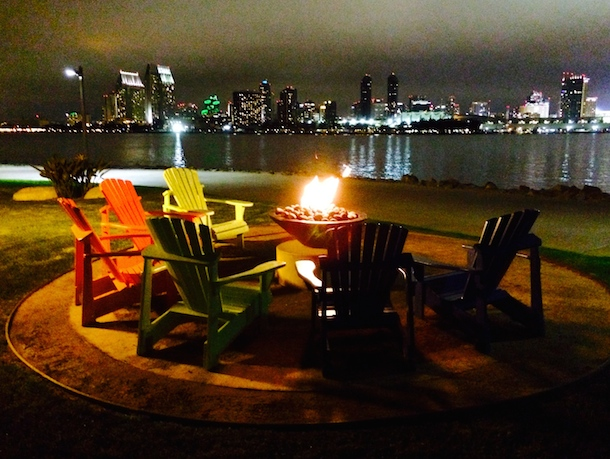 firepit-by-night-dogfriendly-broadstone-coronado