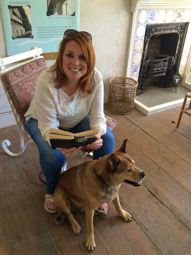 Writer Belinda and dog Bodie at Agatha Christie's Greenway Boathouse