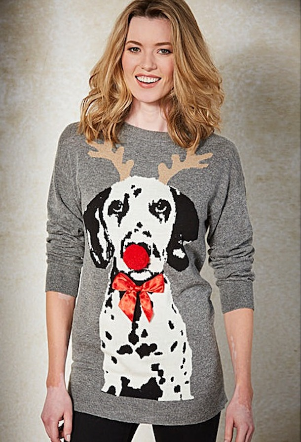 christmas dog motif sweater featuring dalmatian with pom pom nose