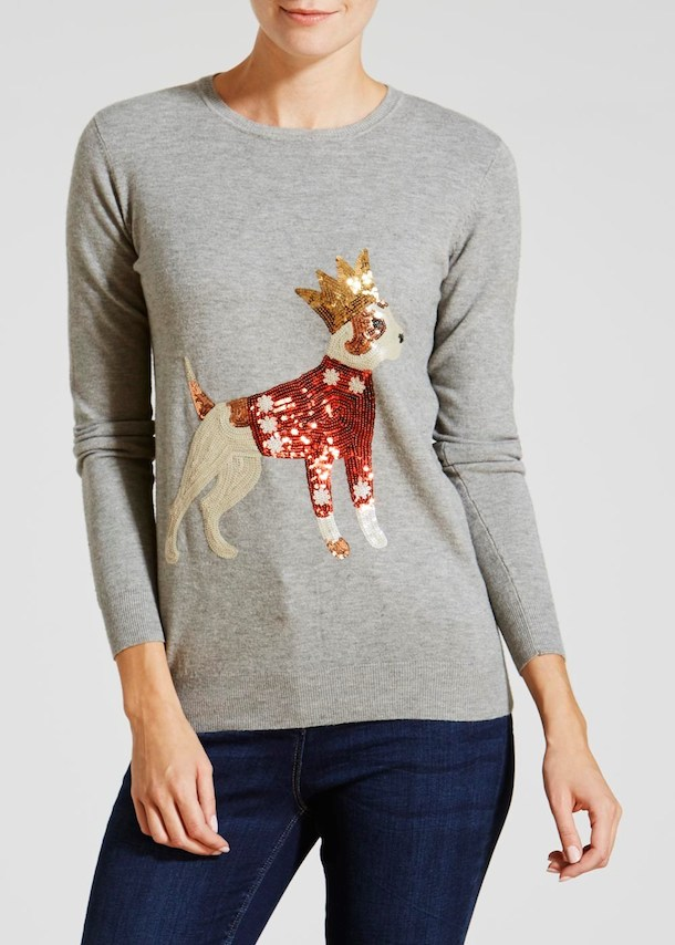 christmas dog motif sweater with sequins and crown
