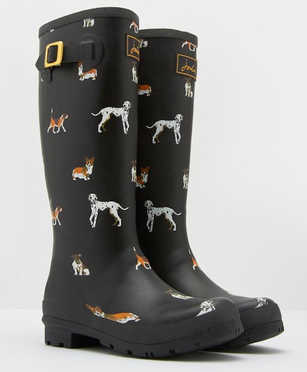 Joules black dog print wellies for women