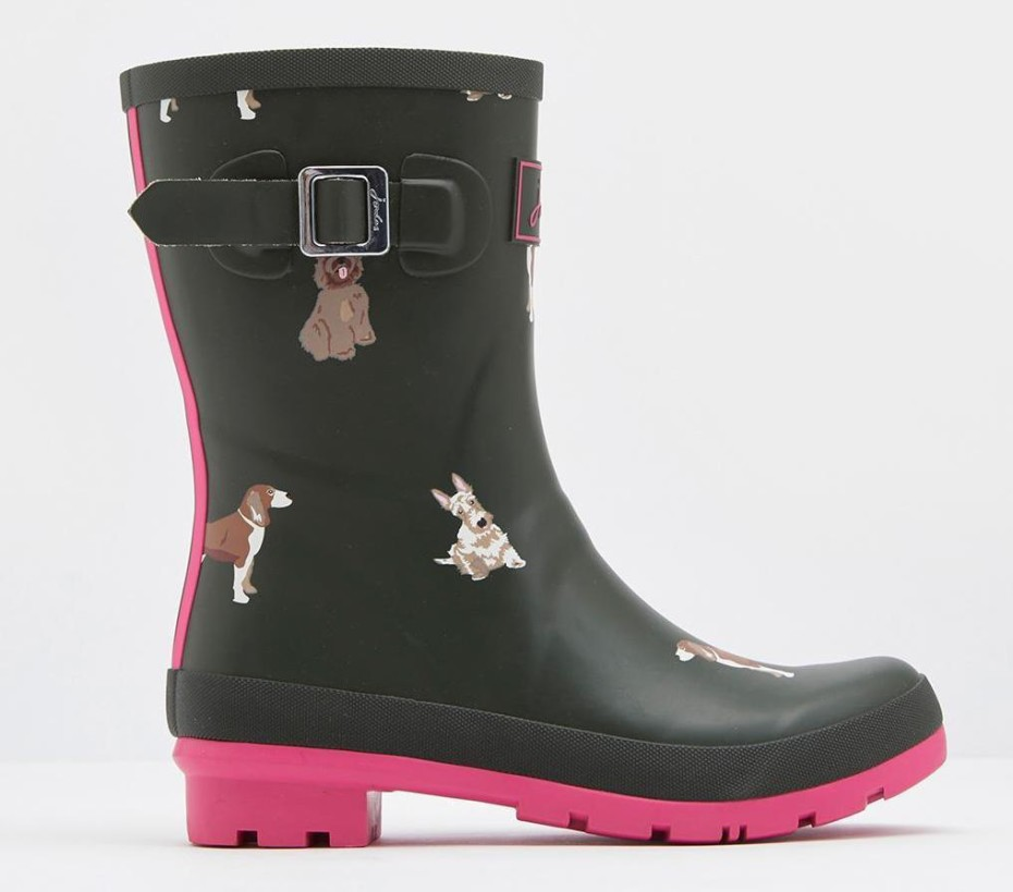 Joules crop wellies with dog print and pink sole