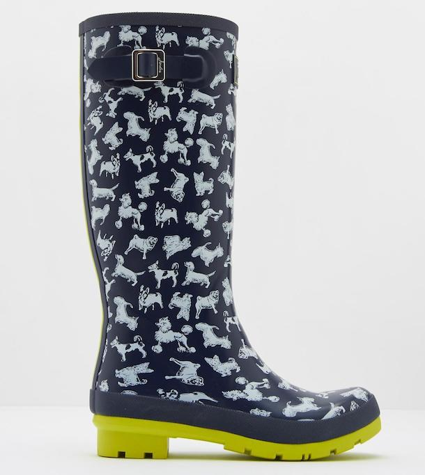 Joules navy and white dog print wellies