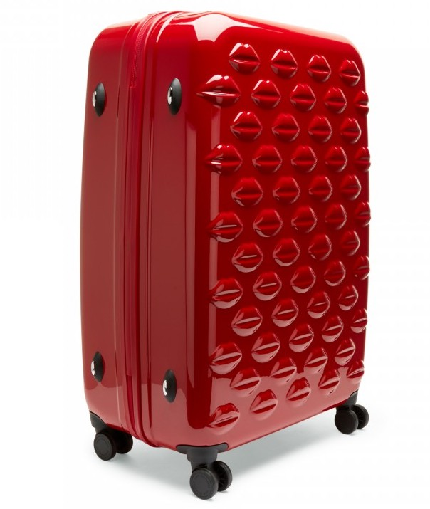 red gloss lip print suitcase lulu guinness