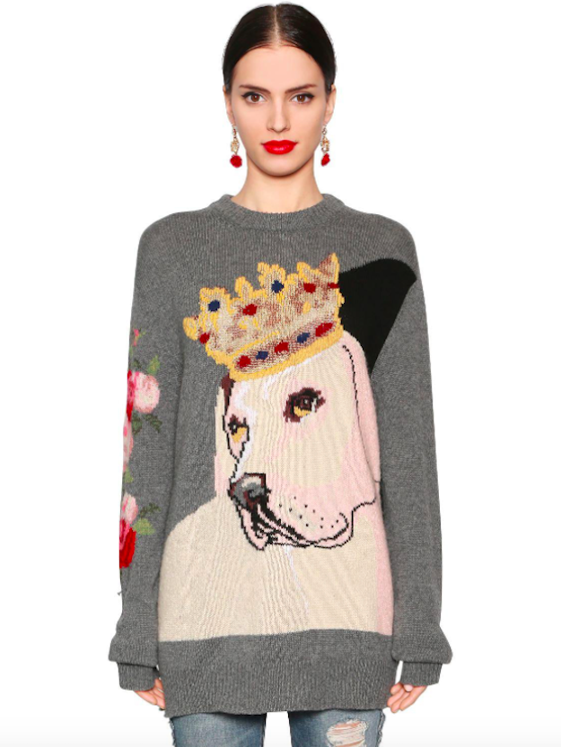 Dolce e Gabbana cashmere sweater with labrador and crown print