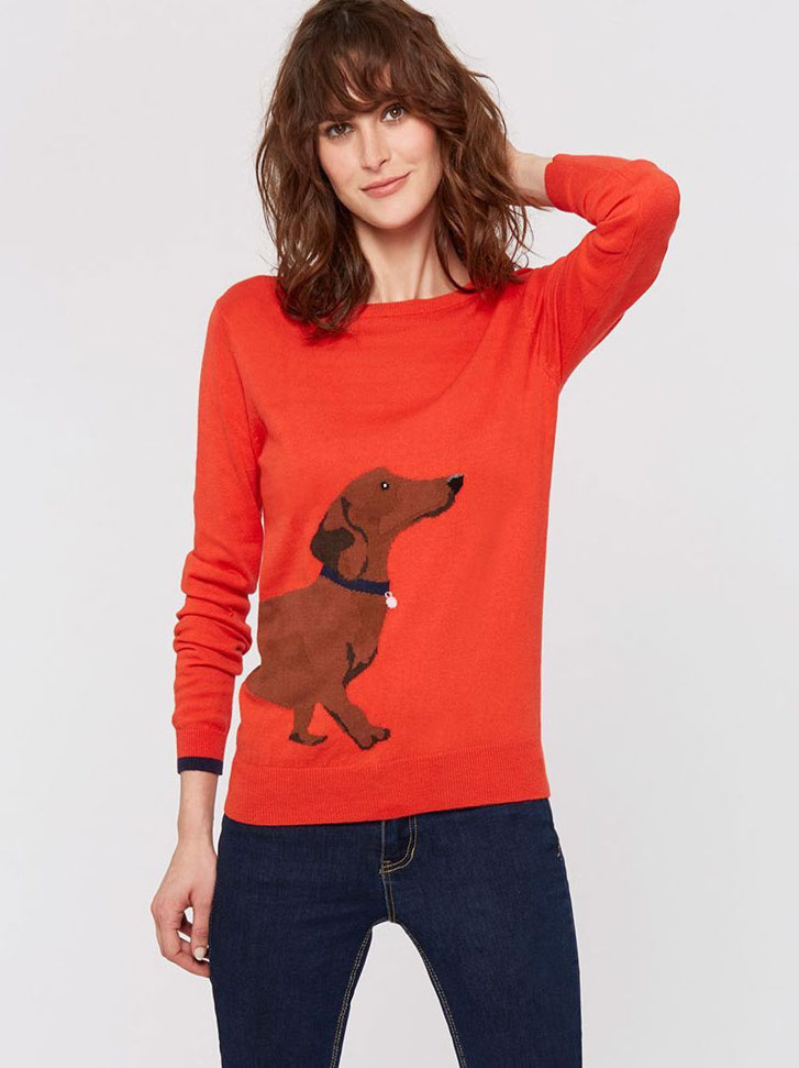 Joules red christmas sweater with a wraparound dachshund motif