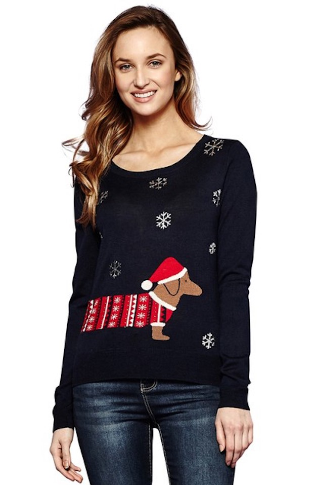 black christmas sweater with dachshund in red fair isle sweater